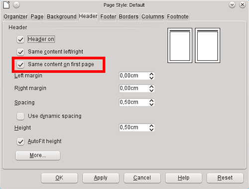 Разное оформление для первой страницы в LibreOffice Writer 4.0