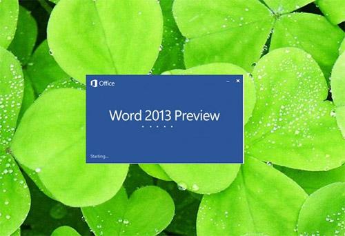 Заставка Microsoft Word 2013