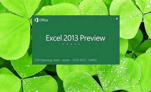Заставка Microsoft Excel 2013