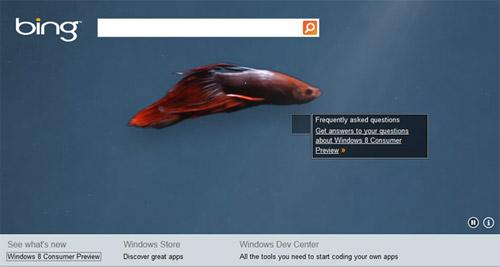 На Bing сделали страницу для знакомства с Windows 8