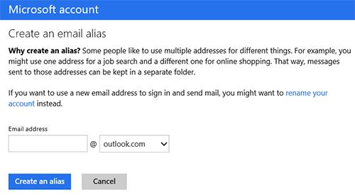 В Outlook.com добавили поддержку нескольких почтовых адресов